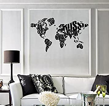 Amazon.com: Wall Sticker World Map Made of Country Names Modern Cool ...