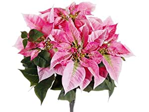 "Faux 19"" Majestic Poinsettia Bush x5 Pink (Pack of 6)"