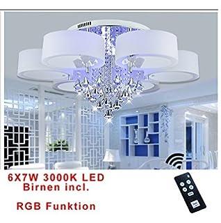 Style Home® 42W RGB Kristal LED Deckenlampe Deckenleuchte 6103 6 Flammig  Warmweiss Mit Fernbedienung Incl