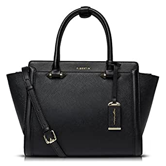 FIGESTIN Women Cowhide Genuine Leather Designer Handbags Purse Ladies Trapeze Top Handle Satchel Bag