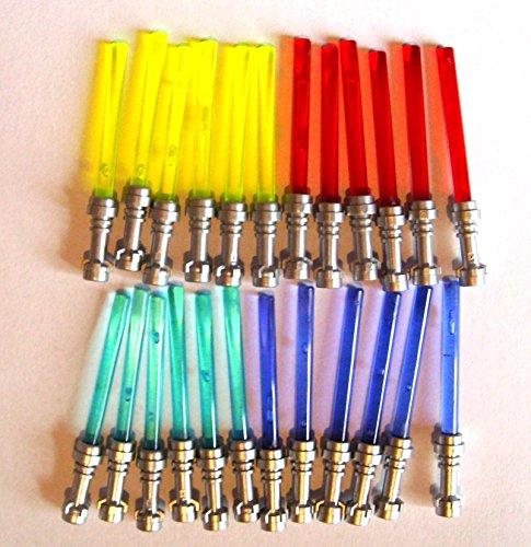 Lego Star Wars 24 Light sabers 6x yellow 6x red 6x blue 6x purple with flat silver hilts