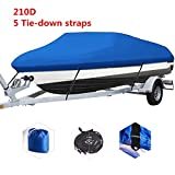 "CoCo@ Alfresco 210D Polyester Oxford Canvas Trailerable Boat Cover with Nylon Rope Fits V-Hull/Tri-Hull/Runabout/Fishing Craft ,Full Size Boat Cover, Waterproof ,Blue (blue, 14'-16'L 90""W)"