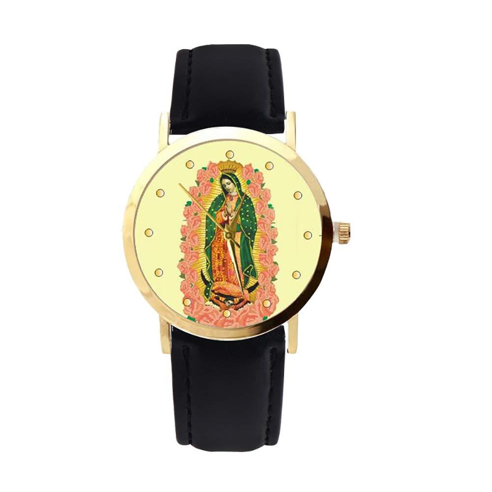 lightclub Christian Virgin Mary Flower Round Dial Faux Leather Strap Women Wristwatch - Black