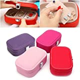Sufang Fashion Portable Square Jewelry Organizer Travel Storage Box Leather Dressing Case Gift MEL Purple one size