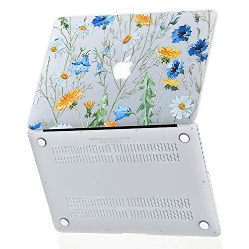 Floral Daisy MacBook Air 13 inch Case (Model: A1369/A1466, Older Version 2010-2017 Release), EkuaBot Matt Clear Rubber Coated Soft Touch Hard Case Cover Only Compatible MacBook Air 13.3 inch