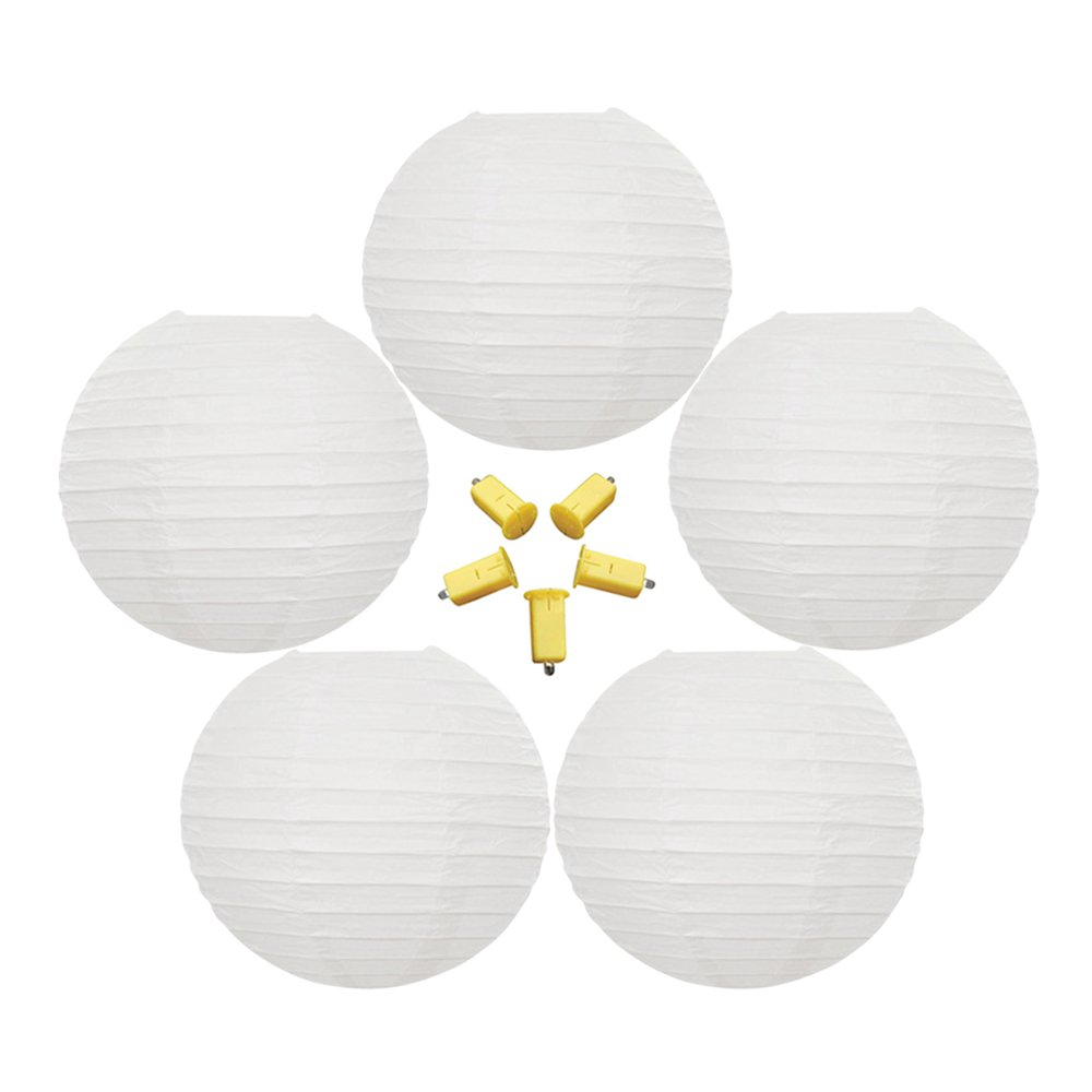 Neo LOONS 5 Pack 10 Inch White Round Chinese/Japanese Paper Lanterns Metal Framed Hanging Lanterns with Warm White LED Lights--- For Home Decor, Parties, Weddings and DIY