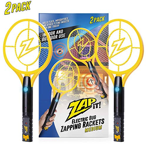 ZAP IT! Bug Zapper Twin Pack - Rechargeable Mosquito, Fly Killer and Bug Zapper Racket - 4,000 Volt - USB Charging, Super-Bright LED Light to Zap in The Dark - Safe to Touch ... (Twin Large)