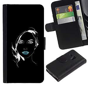 KingStore / Leather Etui en cuir / Samsung Galaxy S3 MINI 8190 / Labios minimalista Chica Negro Blanco Bastante