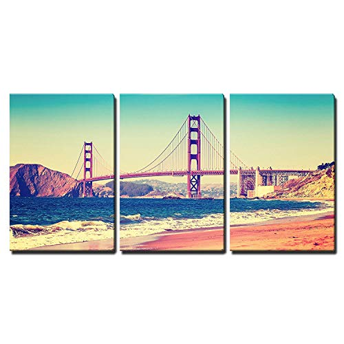 - wall26 - 3 Piece Canvas Wall Art - Retro Vintage Stylized Picture of a Highway, Old Film Style, Usa. - Modern Home Decor Stretched and Framed Ready to Hang - 16