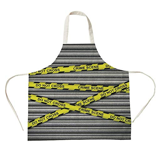 (3D Printed Cotton Linen Big Pocket Apron,Police Decor,Crime Scene Investigation Do Not Pass Yellow Wraps Quotes Artwork Print,Yellow Grey Black,for Cooking Baking)
