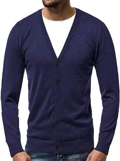 Chaqueta Punto para Hombre,Hombres Otoño Invierno Cálido Suéter Cardigan Botón Suéter De Punto Blusa Tops Camiseta Camisa Outwear: Amazon.es: Ropa y accesorios