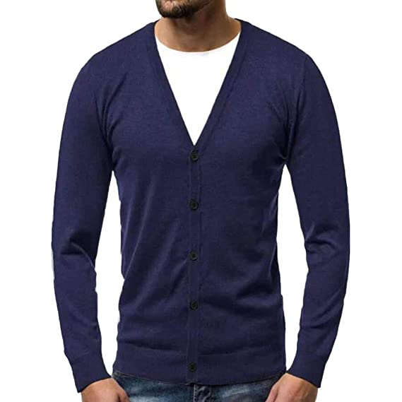 aliveGOT Men Cardigan Sweater Slim Fit Shawl Collar Soft ...