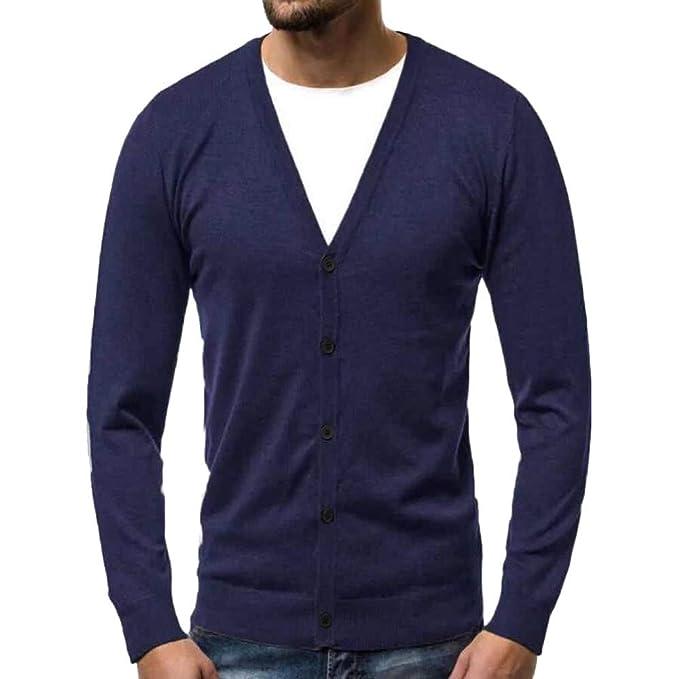 Sudadera cálida de Hombre otoño Invierno botón Cardigan suéter de Punto Blusa Tops Cuello en v de Internet: Amazon.es: Ropa y accesorios