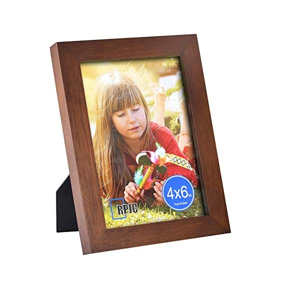"""RPJC 4x6 Picture Frame Made of Solid Wood High Definition Glass for Table Top Display and Wall Mounting Photo Frame Brown - THERPJCPHOTOFRAMEADVANTAGE:FrameMadeofsolidwood,Environmentalpaint,HighDefinitionGlass,Highqualityanddurable.Readytohangtheframeonthewallordisplayondesktop. Size:Fits 4x6 inch Photos!Actual Frame size (finished size) is 5-1/4""""x7""""x3/4"""" and the frame is 1 inches wide. Environmental: Low lead paint,P2 MDF back,Natural wood. - picture-frames, bedroom-decor, bedroom - 51n3K%2Bcc%2BPL. SS570  -"""