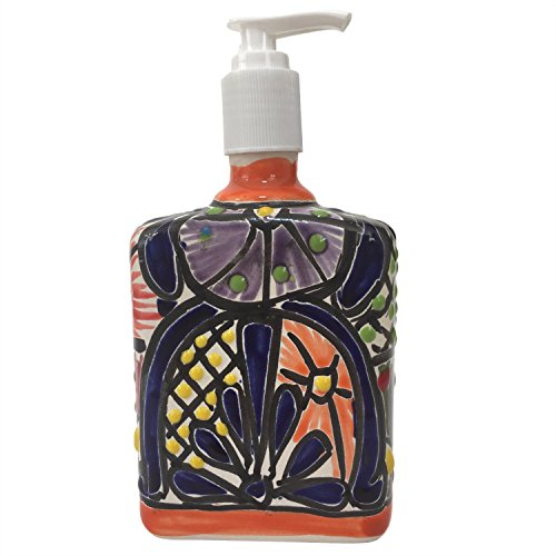 Talavera Ceramic Soap & Lotion Dispenser, for Kitchen or Bathroom Countertops - Hand Painted Mexican Pottery (Hand Painted Mexican Pottery)