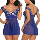 Avidlove Lace Babydoll Lingerie Mesh Chemises Sexy Outfits Nightwear and G-String Blue L