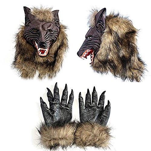 IRQ Halloween Wolf Masks Werewolf Mask and Gloves Hands for Adults Kids Scary Cosplay Costume Party Latex