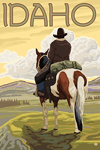 Idaho - Cowboy and Horse (24x36 Giclee Gallery Print, Wall Decor Travel Poster) ()
