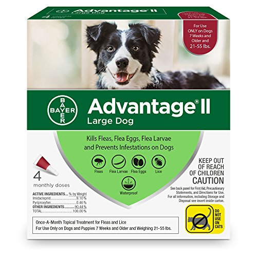 Bayer Advantage II Flea and Lice Treatment for Large Dogs, 21-55 lb, 4 doses