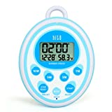 hito Waterproof Shower Clock Timer Alarm Date Indoor Temperature for Bathroom Kitchen Cooking Bedroom Kids Pool Sauna (Blue)