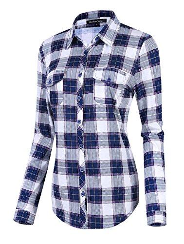 (Urban CoCo Women's Classic Plaid Shirt Button Down Long Sleeve Blouse (2XL,)