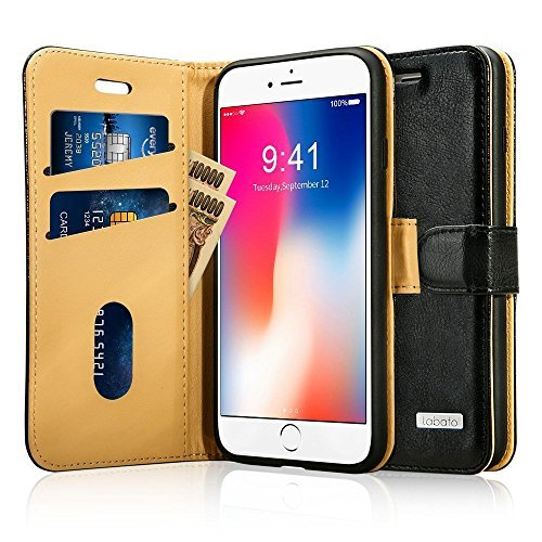 Emerg Phone - Labato iPhone 8 Flip Case Leather Wallet Magnetic Case with Kickstand Function for 2017 Apple iPhone 8, Black (TC-IP8-01Z10)