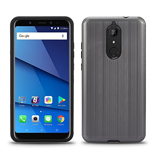 BLU Vivo XL3 Plus case + Screen Protector, (V0210WW) 6 inch case NF Tough Hybrid + Dual Layer Shockproof Drop Protection Metallic Brushed Case Cover for BLU Vivo XL3 Plus (VGC Gray + SP)