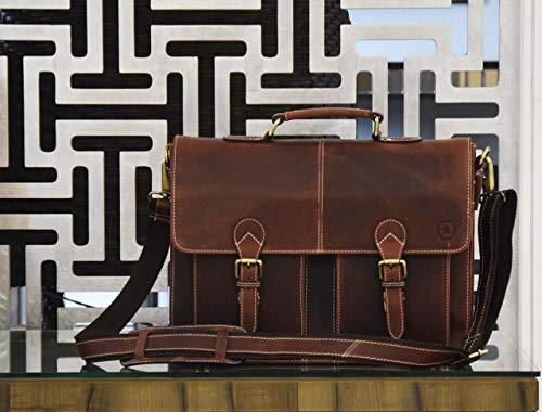 16'' Leather Briefcase Messenger Bag for Laptop by Aaron Leather (Walnut) by AARON LEATHER GOODS VENDIMIA ESTILO (Image #7)