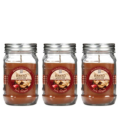 Hosley-Premium-Set-of-3-Baked-Apple-Jar-Candle-11oz-Each-Bulk-Buy-Great-Gift-Weddings-party-aromatherapy-spa-meditation-or-kitchen