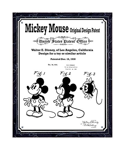 JS Original Mickey Mouse patent printed on metal plate, mounted on black marble-finish wooden plaque