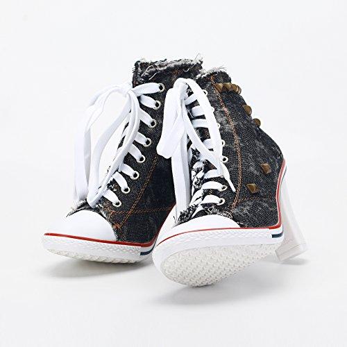 OCHENTA Chunky Heel Nero Canvas Boots Elegante Rivetti a Ankle blocco lacci Donna Sneakers tacco rrY4S