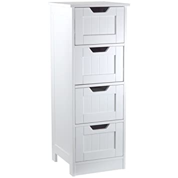 Free Standing Bathroom Unit White Wooden Drawer Cupboard Storage