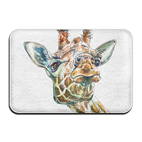 Homlife Rectangle Thin Doormats Funny Giraffe Face Entrance Mat Non-Slip Indoor Outdoor Area Rug Bathroom Mats Coral Fleece Home Decor by Homlife