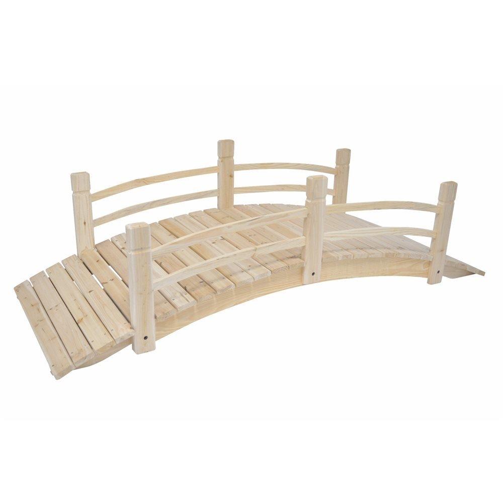 MD Group Garden Bridge Cedar Wood 6-ft Long Moisture-resistant With Rails Outdoor Lawn Decor