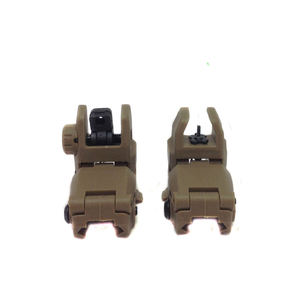 #1 Front & Rear Set Flip Up Back Up Sights Rails DARK EARTH GENERIC......SHIPS FROM TEXAS