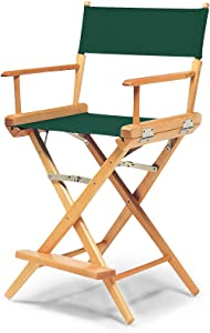 Telescope Casual World Famous Counter Height Director Chair, Forest Green with Varnish Frame