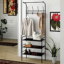 Compact Hall Tree Entry Bench Minimalist Corner Entryway Hall Tree with Storage Bench, Rustic Contemporary Industrial Hall Tree & E-Book