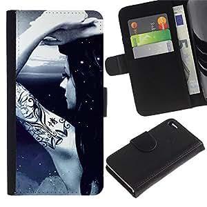 BearCase / Cuero de la tarjeta la carpeta del tirón Smartphone Slots Protección Holder /// Apple iPhone 4 / 4S /// Tattoo Ink Naked Girl Moon Light Night Sky Art