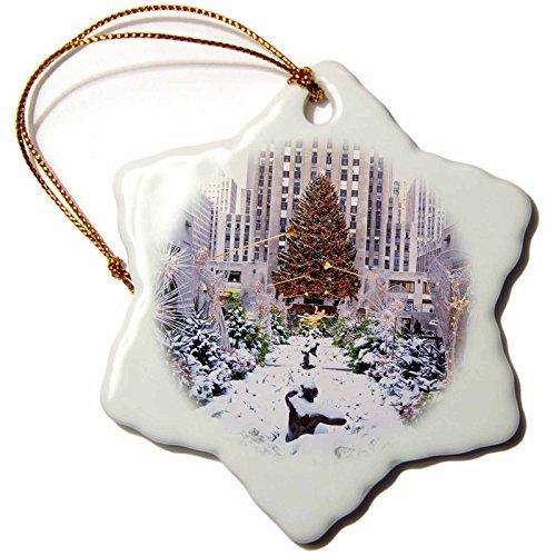 3dRose Christmas Tree, Rockefeller Center, Manhattan, New York, USA Snowflake Ornament, Porcelain, 3