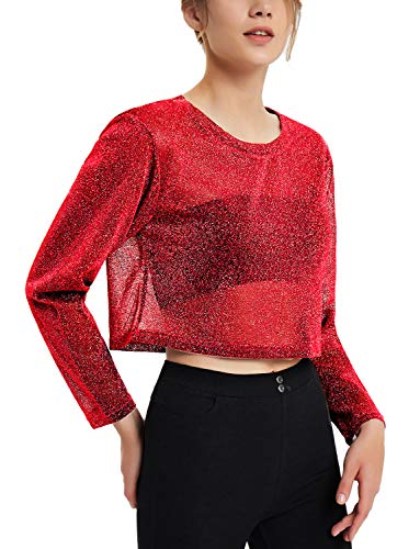 Perfashion Women's Cropped Tops Tomato Red Long Sleeve Sexy Metallic See Through Shirts Glitter Cropped Blouse
