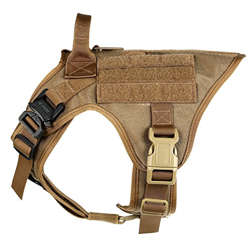 ICEFANG Large Dog Tactical Harness ,Military K9 Working Dog Molle Vest,No Pull Front Clip,Unbreakable Snap-proof Buckle (L (28'-35' Girth), CB-Molle Half Body)