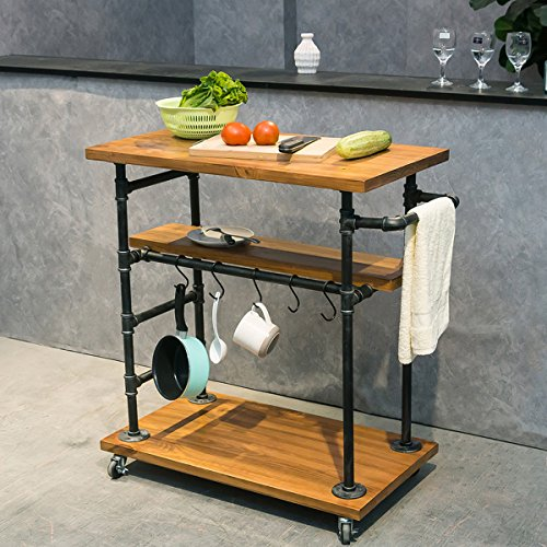 Industrial Portable Kitchen Island on Wheels,Bar Carts for the Home Wine Bar Beverage Coffee Cart,Metal Rolling kitchen carts and islands,Wood and Pipe 3-Tier Butcher Block Island Food Serving Cart by MBQQ (Image #2)