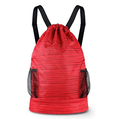 (SKL Drawstring Bag Backpack with Ball Shoe Compartment Sport Gym Sackpack String Bag for Men Women Soccer)