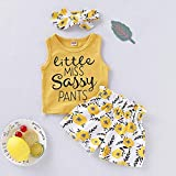 PigMaMa 3 Pcs Infant Baby Girl Clothes Yellow