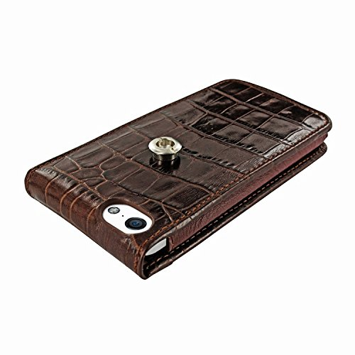 Piel Frama 595 Brown Crocodile Magnetic Leather Case for Apple iPhone 5 / 5S / SE by Piel Frama (Image #3)