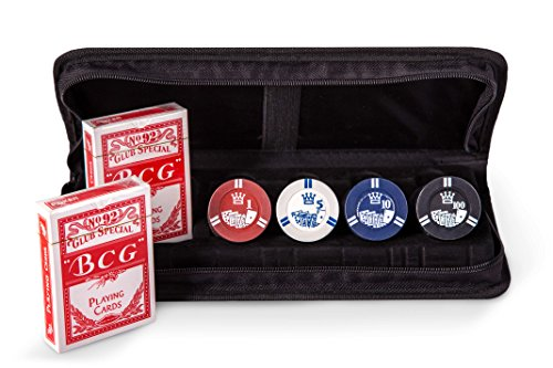 Poker Chip Set with 2 Decks of Cards & 4 Chips denomination - Just play like a Pro Texas Hold'em Poker