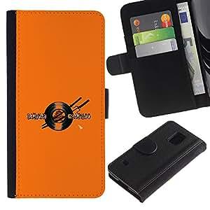 LECELL--Cuero de la tarjeta la carpeta del tirón Smartphone Slots Protección Holder For Samsung Galaxy S5 V SM-G900 -- Samurai Champloo Vinilo Espada --