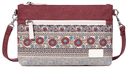 Maroon Phone - ArcEnCiel Small Crossbody Bag Canvas Cell Phone Purse Wallet with Shoulder Strap Handbag for Women Girls (Maroon)
