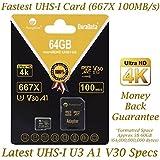 Amplim 64GB Micro SD SDXC V30 A1 Memory Card Plus Adapter Pack (Class 10 U3 UHS-I MicroSD XC Extreme Pro) 64 GB Ultra High Speed 667 X 100MB/s UHS-1 TF MicroSDXC 4K Flash - Cell Phone, Drone, Camera