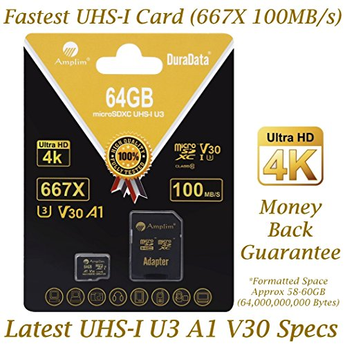 64GB Micro SD SDXC Memory Card Plus Adapter Pack (Class 10 U3 UHS-I V30 A1 MicroSD XC Extreme Pro) Amplim 64 GB Ultra High Speed 667X 100MB/s UHS-1 TF MicroSDXC 4K Flash - Cell Phone, Drone, Camera